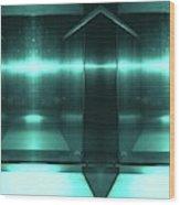 Blue Aluminum Surface. Metallic Fashion Geometric  Background Wood Print