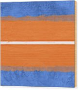 Blue And Orange Abstract Theme Iv Wood Print