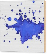 Blue Blobs On The Paper Wood Print