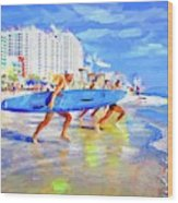 Blue Board Fast Into Ocean Wood Print