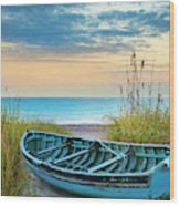 Blue Boat At Dawn Wood Print