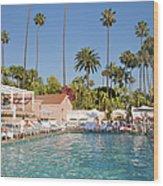 Blue-bottomed Pool Beneath Palm Trees Wood Print