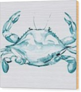 Blue Crab Turcoise Wood Print