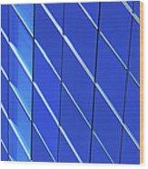 Blue Glass Modern Building Wood Print