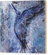 Blue Hummingbird Wood Print