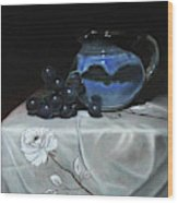 Blue Jar And Dark Purple Grapes Wood Print