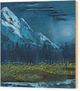 Blue Mountain Top Wood Print