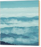 Blue Ridge Mountains Layers Upon Layers In Fog Wood Print