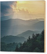Blue Ridge Parkway Nc From Above Wood Print