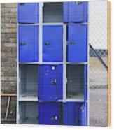Blue School Lockers Wood Print