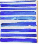 Blue Textured Stripes Wood Print