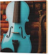Blue Violin And Old Books Wood Print