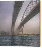 Blue Water Bridge Fog Wood Print