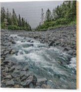 Blue Water Creek Wood Print