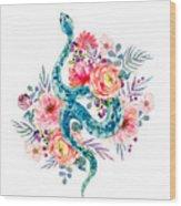 Blue Watercolor Snake In The Flower Garden Wood Print