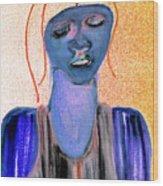 Blue Woman Wood Print