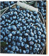 Blueberries At Farmers Market Wood Print