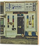 Blues Town Music Store Wood Print