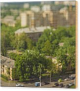 Blurry Tilt-shift Cityscape Background Wood Print