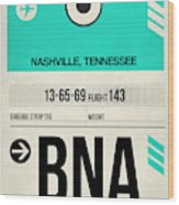 Bna Nashville Luggage Tag II Wood Print