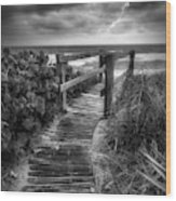 Boardwalk To The Sea In Radiant Black And White Wood Print