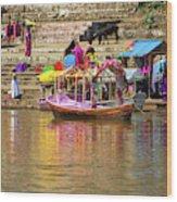 Boat And Bank Of The Narmada River, India Wood Print