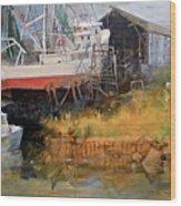 Boat In Drydock Wood Print