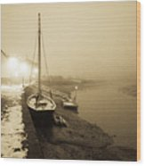 Boat On Wintry Quay Wood Print