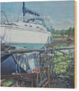 Boat Out Of Water With Dumped Parts At Marina Wood Print