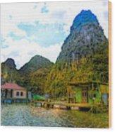 Boat People Homes On Gulf Of Tonkin Ha Long Bay Vietnam Wood Print