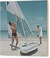 Boating In Antigua Wood Print