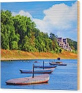 Boats At The Ferry Crossing Painting Wood Print