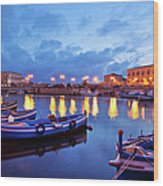 Boats In Sicily, Italy Wood Print