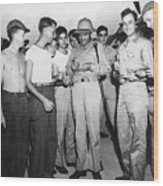 Bob Hope Signing Autograph For Soldiers Wood Print