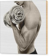 Body Builder Exercising Wood Print