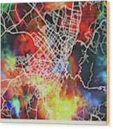 Bogota Colombia Watercolor City Street Map Wood Print