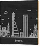 Bogota Skyline Travel Poster Wood Print