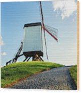 Bonne Chiere Windmill Bruges Belgium Wood Print