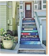 Book Stairs House Wood Print