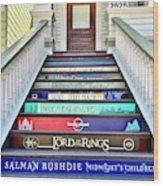 Book Stairs Wood Print