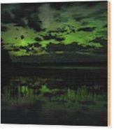 Boot Lake Green And Purple Northern Lights  Wood Print