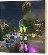 Boston Colored Steam Lights Boston Ma Rose Kennedy Greenway Steamy Wood Print