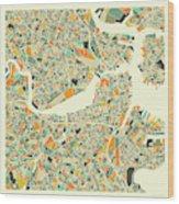 Boston Map 1 Wood Print