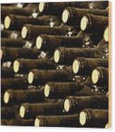 Bottled Red Wine Aging In Wine Cellar Wood Print