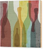 Bottles Of Wine, Whiskey, Tequila Wood Print