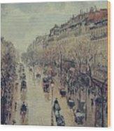 Boulevard Montmartre - Afternoon, In The Rain, 1897 Wood Print