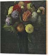 Bouquet Of Dahlias Wood Print
