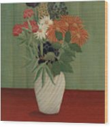 Bouquet Of Flowers With China Asters And Tokyos, 1910 Wood Print