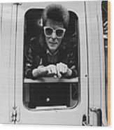 Bowie On The Rails Wood Print