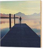 Bowman Lake In Glacier National Park Wood Print